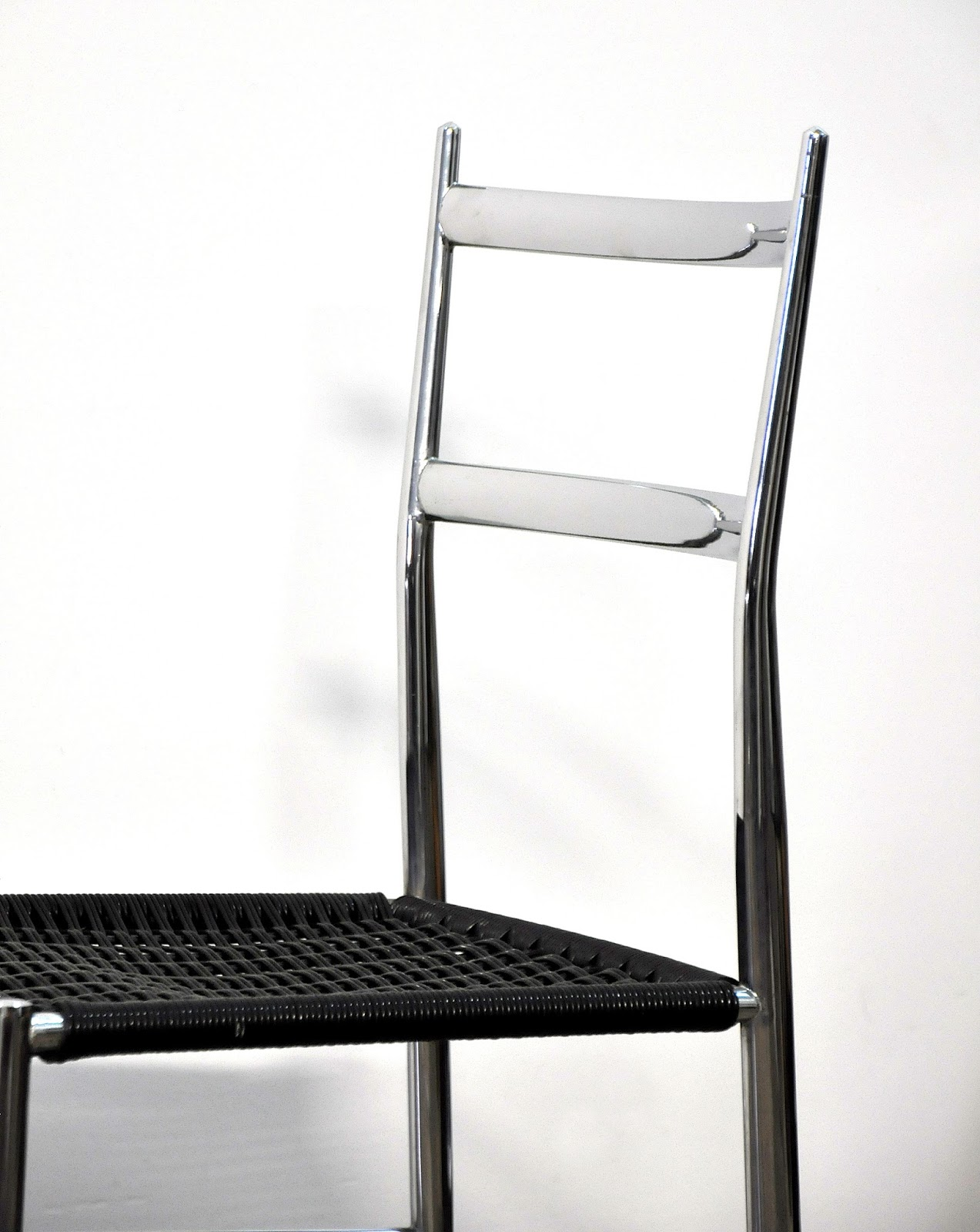 SELECT MODERN Set of Four Gio Ponti Superleggera Chrome Dining Chairs