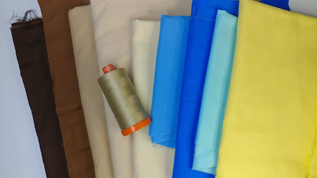 Solid fabrics and Aurifil thread