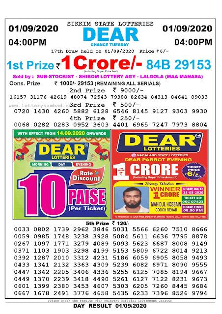 Lottery Sambad Today 01.09.2020 Dear Chance Tuesday 4:00 pm