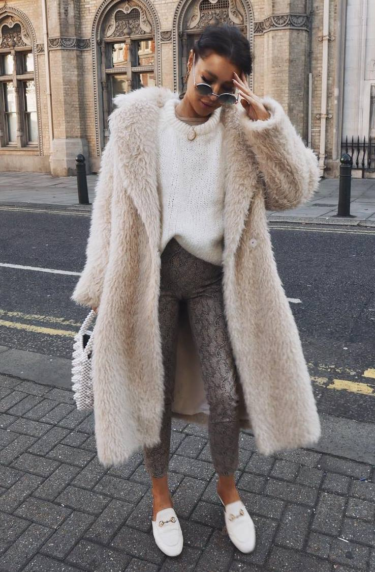 best winter outfit / fur coat + knit sweater + snake pants + bag + loafers