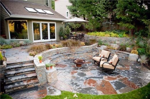 Stone Patio Designs with Fire Pit picture