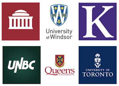 Formal credentials earned by (bottom left to right) UNBC, Queen's University, University of Toronto; (top left to right) MIT, University of Windsor, Kellogg School of Management