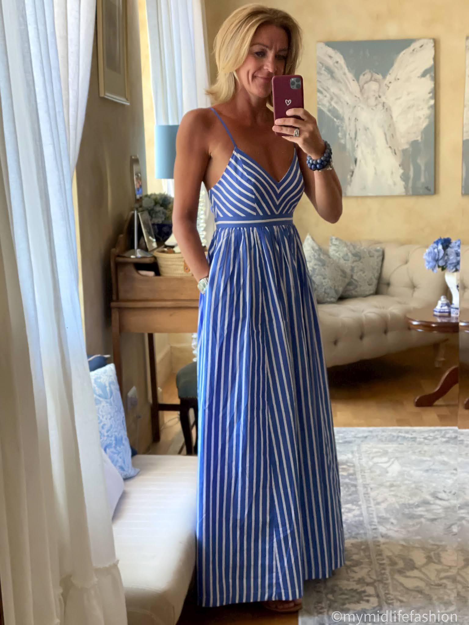 my midlife fashion, j crew stripe maxi sun dress, speak out chris braided leather sandals