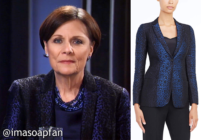 Tracy Quartermaine, Jane Elliot, Blue and Black Leopard Print Blazer, Elie Tahari, GH, General Hospital
