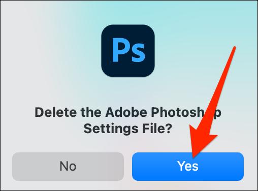 حدد نعم في موجه الحذف في Photoshop