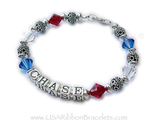 Link: https://usaribbonbracelets.com/rwb1bracelet.html  Military Mom Army Mom Bracelet with the name Devin. They added an Army Charm, Military Mom Charm, Aquamarine Birthstone Crystal Dangle, Courage in a Heart Charm and upgraded the clasp from the free Lobster Clasp to the Heart Lobster Claw Clasp.