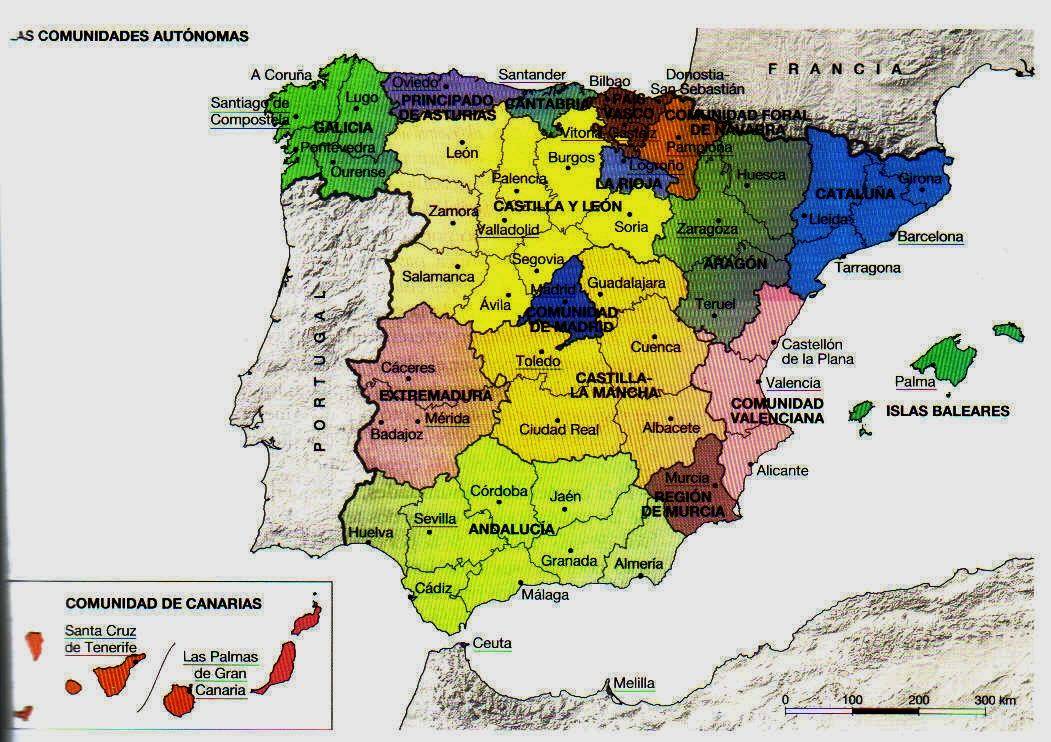 Mapa España Comunidades Autonomas Y Provincias.Las Comunidades Autonomas De Espa A Y Trabalhos De Casa