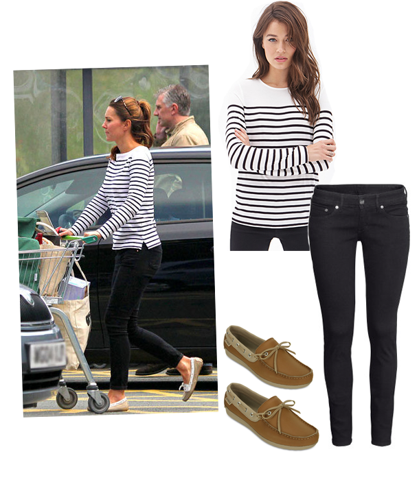 Kate Middleton Looked Casual Chic In This Striped Top Paired With Black Skinny Jeans And Tan Loafers We Recreated Her Look For Under 100 Bucks Found A