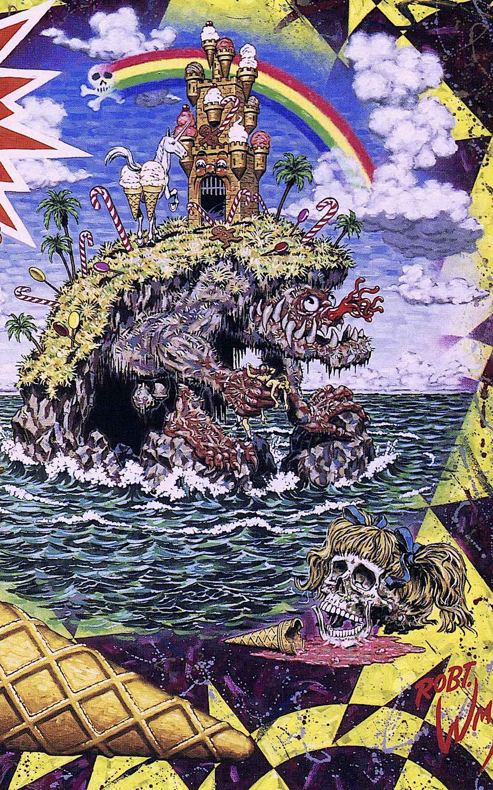 a detail from a Robert Williams painting, a monster island