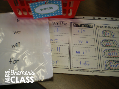 Kindergarten literacy centers for phonemic awareness & word work