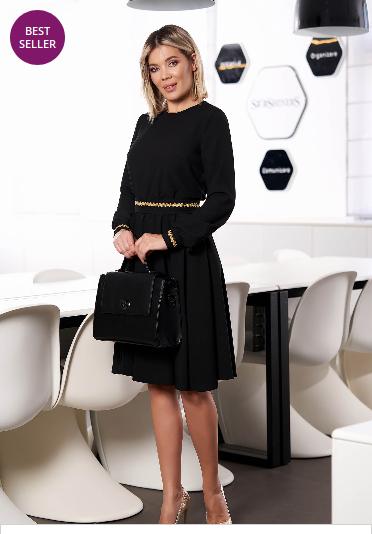 Rochie StarShinerS neagra eleganta midi in clos cu elastic in talie fara captuseala cu maneci lungi
