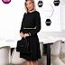 Rochie neagra eleganta midi in clos cu elastic in talie fara captuseala cu maneci lungi