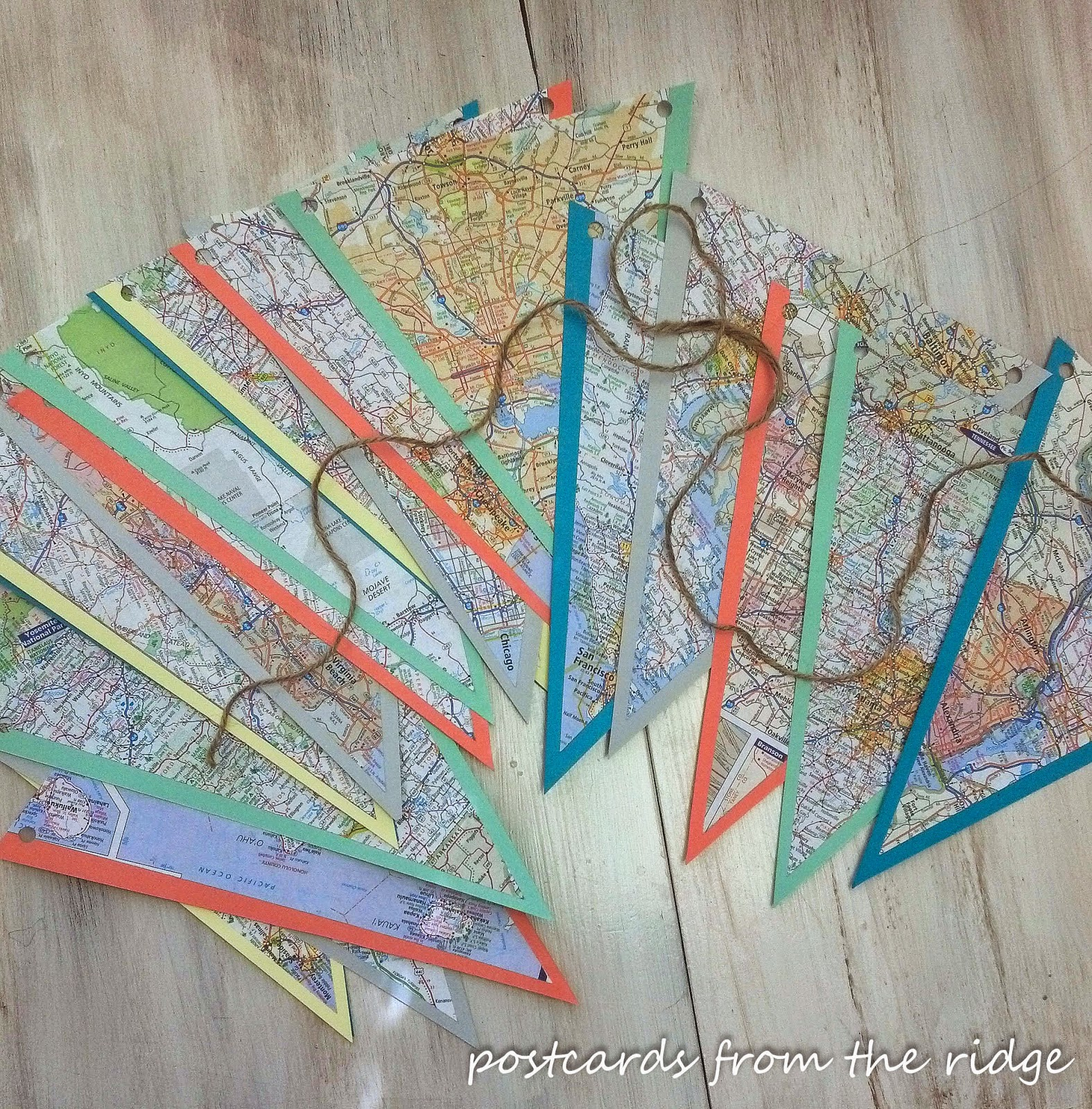 Full tutorial for a fun way to make a bunting from maps of places you've traveled to. Can be easily added to.