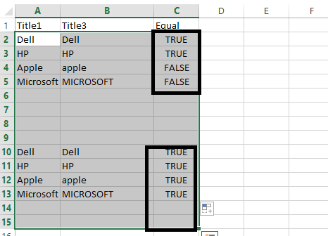Compare Two String-Excel