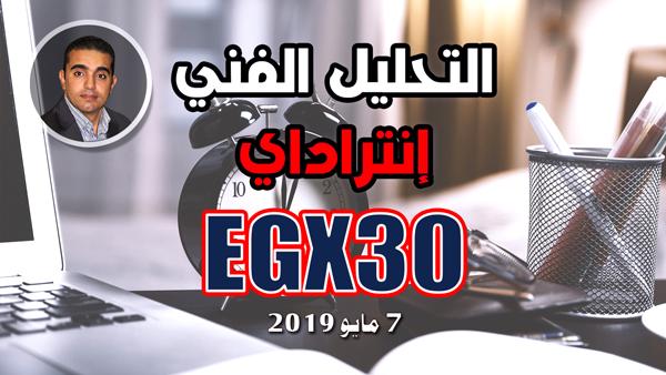 تحليل فني للمؤشر العام للبورصة المصرية ايجي اكس 30 على انتراداي فريم زمني نصف ساعة