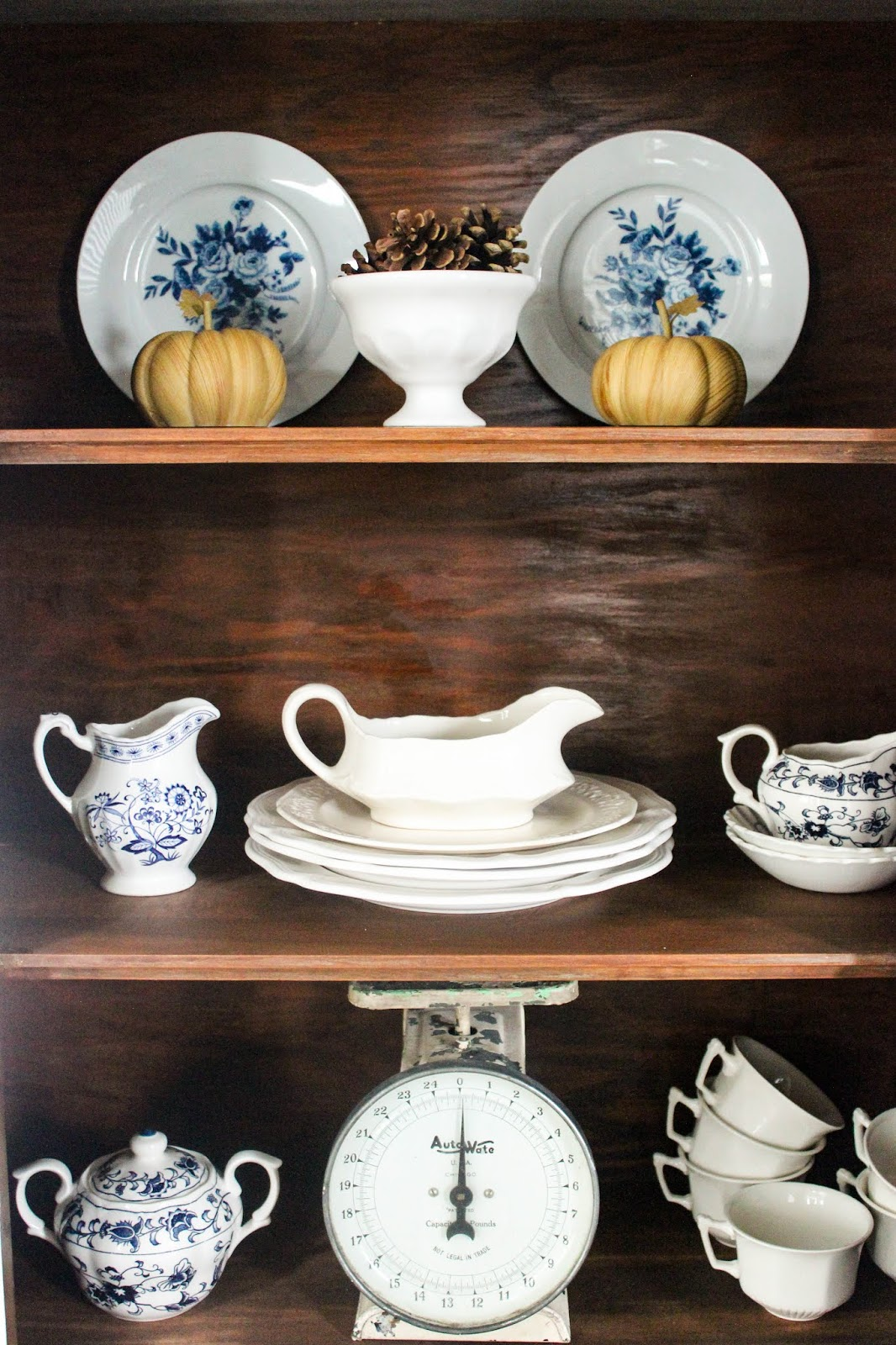 fall hutch decorating ideas