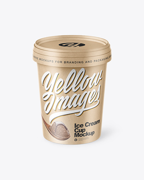 4 Collection Best Kraft Ice Cream Cup Mockup