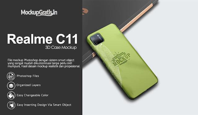 Mockup Custom Case 3D Realme C11 Gratis