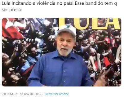 O quadrilheiro Lula acusa diretamente Bolsonaro como responsável pela morte de Marielle e de pessoas no dia a dia. Ou Bolsonaro reage ou Lula vai acabar com sua raça.