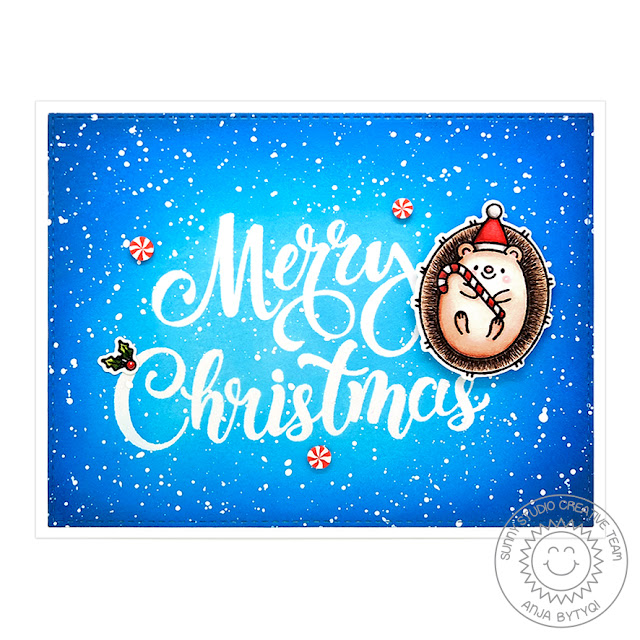 Sunny Studio Blog: Handmade Hedgehog Holiday Christmas Card by Anja Bytyqi (using Hedgey Holiday Stamps, Season's Greetings Stamps & Peppermint Confetti)