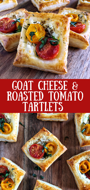 puff pastry with goat cheese, roasted tomatoes and herbs on a wooden board