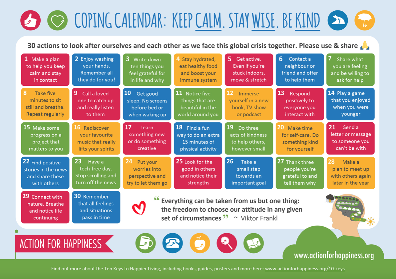 WIMBISH HIVE : Action for Happiness Calendars : Mindful March
