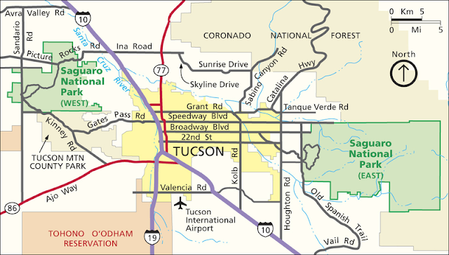 mappa del saguaro national park