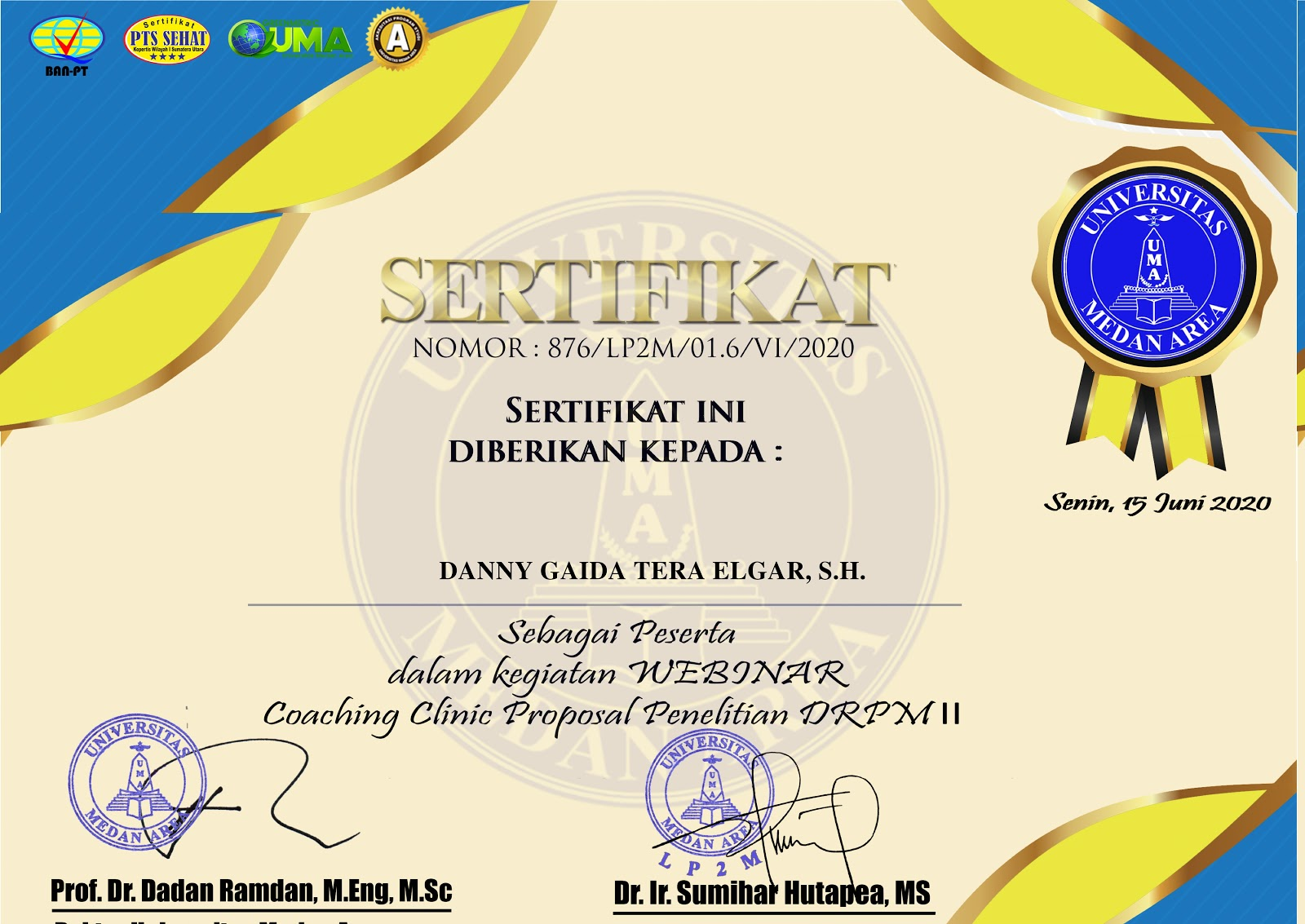 Sertifikat Coaching Clinic Proposal Penelitian DRPM Universitas Medan Area (UMA)
