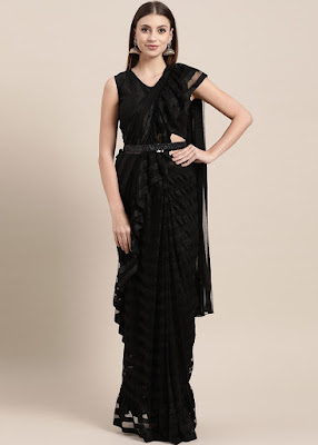 Black Pre-Stitched Ruffled Saree With Blouse Indian party wear