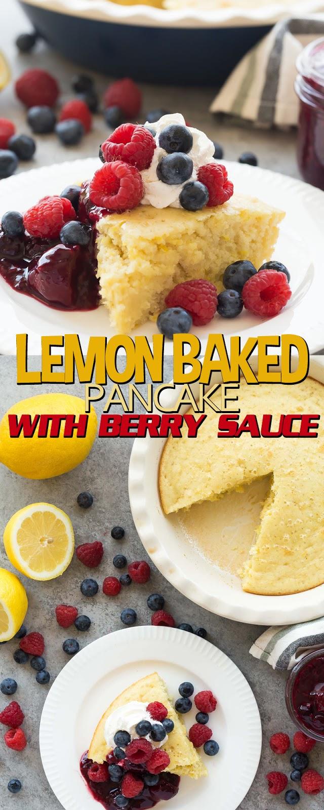 LEMON BAKED PANCAKE WITH BERRY SAUCE