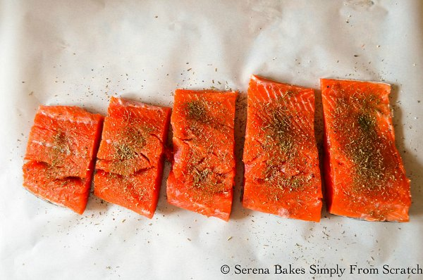 Wild Salmon covered with dill, thyme, salt, and pepper from Serena Bakes Simply From Scratch.