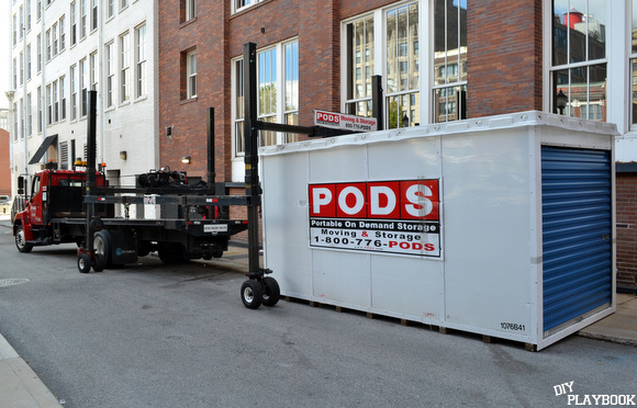This PODS unit is delivered on the street for storage.