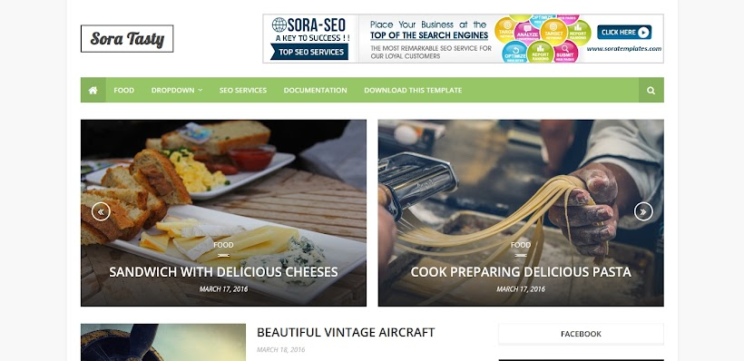 Sora Tasty Free Blogger Template