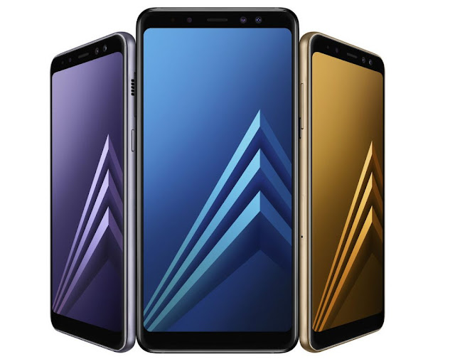 is the dual photographic television set camera on the front end side for expert selfies Samsung Milky Way A8 (2018) as well as Samsung Milky Way A8 Plus (2018) launched amongst Infinity display as well as dual front end photographic television set camera setup