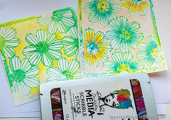 Layers of ink - Misted Flowers Art Journal Tutorial by Anna-Karin Evaldsson. Color with scribble sticks.