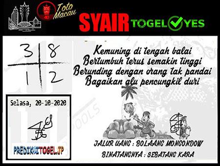 Syair Togel Yes Toto Macau Selasa 20 Oktober 2020