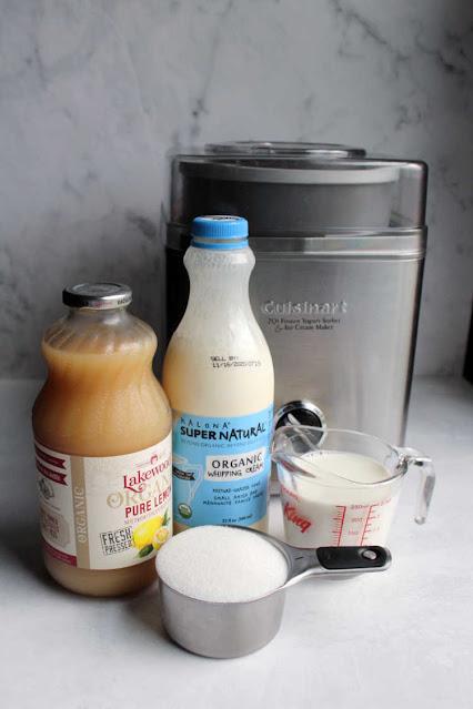 lemon ice cream ingredients in front of ice cream maker