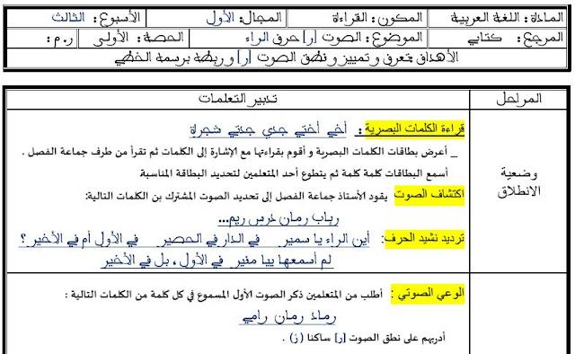 جذاذات القراءة الوحدة 1 الأسبوع 3 حرف الراء.مرجع كتابي في اللغة العربية المستوى الأول