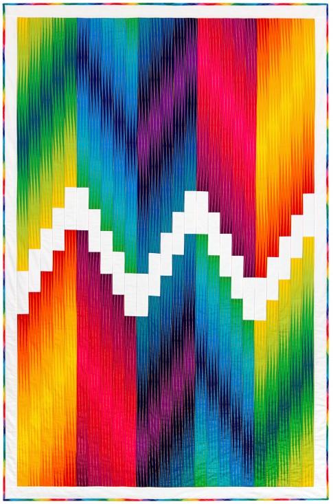 Chroma Modern Quilt Free Pattern designed by Lunn Studios of Robert Kaufman Fabrics, Featurin Harlequin Fabrics
