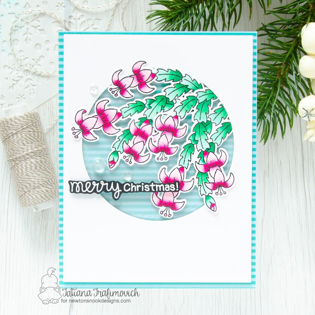 Christmas Cactus Card by Tatiana Trafimovich | Christmas Cactus Stamp Set, Meowy Christmas Paper Pad and Circle Frames Die Set by Newton's Nook Designs