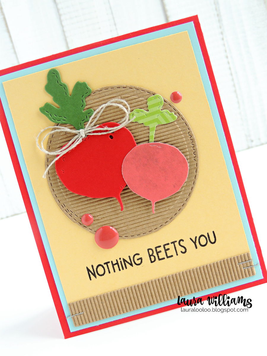 Adorable handmade card ideas with vegetable die cutting and stamped sentiments. Nothing Beets You - with Radish and Beet dies, from Impression Obsession. Stop by my blog to see the details on this card, plus others featuring these darling stamps and dies from IO.