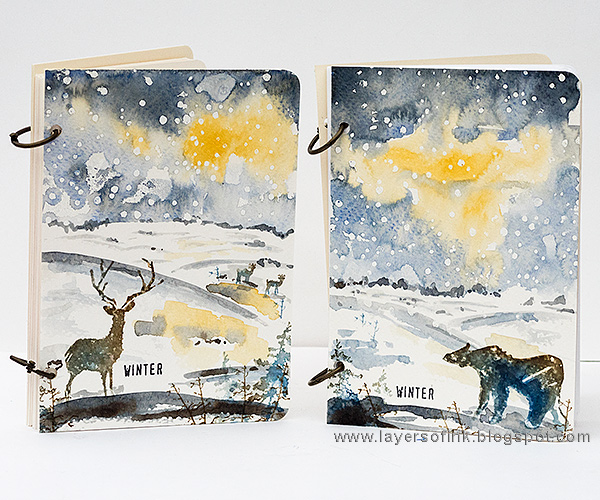 Layers of ink - Winter Watercolor Notebooks by Anna-Karin Evaldsson