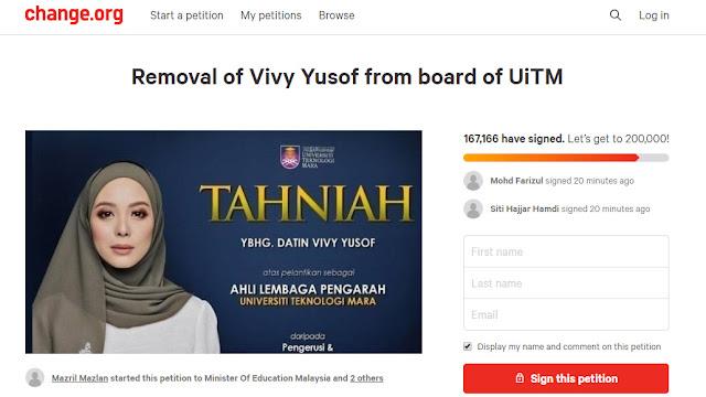 Petition Terhadap Kedudukan Vivy Yusof Berjaya Mengumpul Lebih 150,000 Tandatangan Dalam Sehari