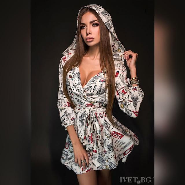 Μακρυμάνικο κοντό  χρωματιστό φόρεμα MARTINA