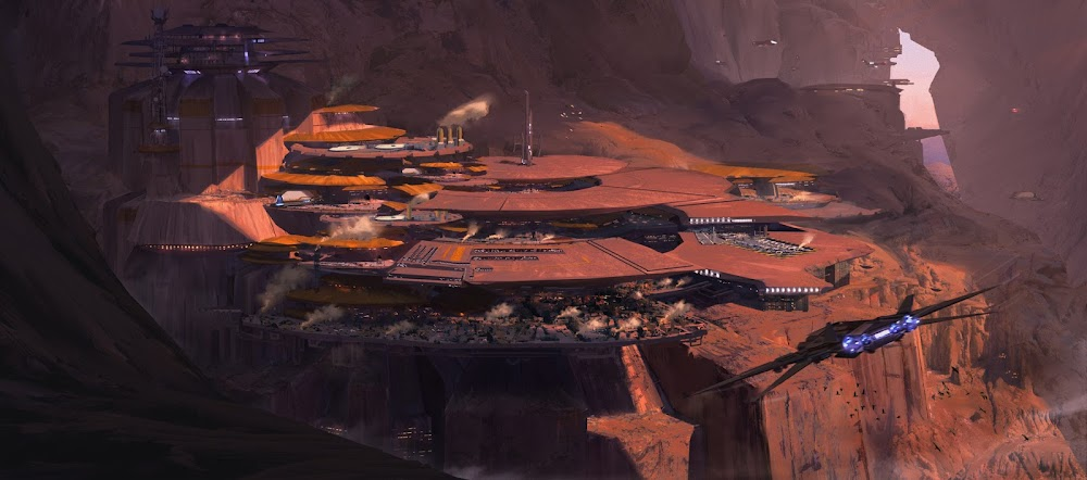 Spaceport in large Mars cave by Connor Sheehan