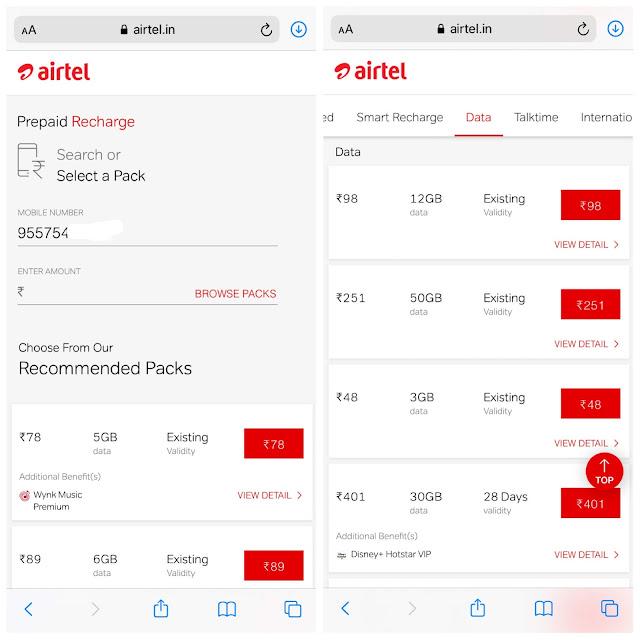 Recharge Airtel data voucher from website
