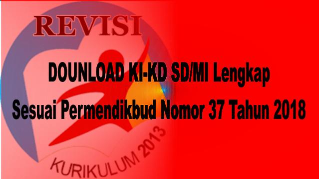 KI-KD SD/MI Lengkap Sesuai Permendikbud Nomor 37 Tahun 2018