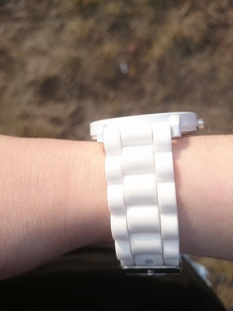Sport Round Silicone Watch - White, biały zegarek, gumowy zegarek