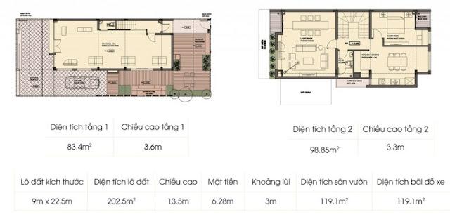 Mẫu biệt thự 2 (tầng 1 + tầng 2) An Phú Shop Villa