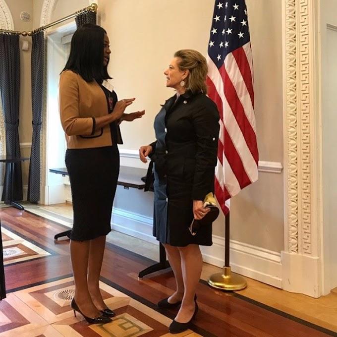 Photos: Sandra Ankobiah meets Donald Trump's National Security Adviser & IMF boss
